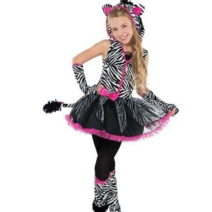 Girl's Sassy Stripes Zebra Halloween Costu…